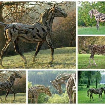 Driftwood Horse Sculptures