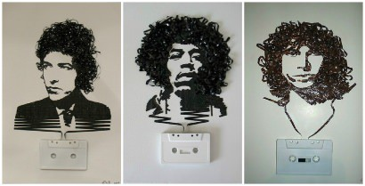 Recycled Cassette Tape Portraits