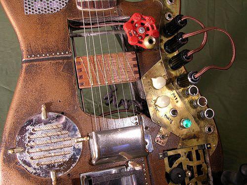 Custom Steampunk Guitar Recycled Art