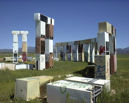 Fridge Henge in art architecture  with fridge