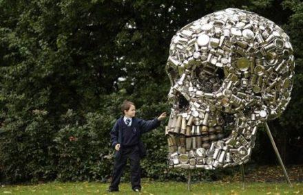 Giant metal skull