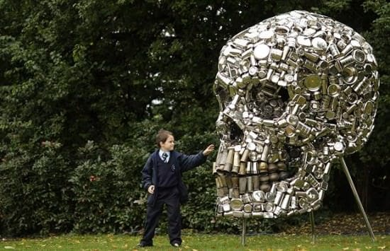 Giant Metal Skull Recycled Art Recycling Metal