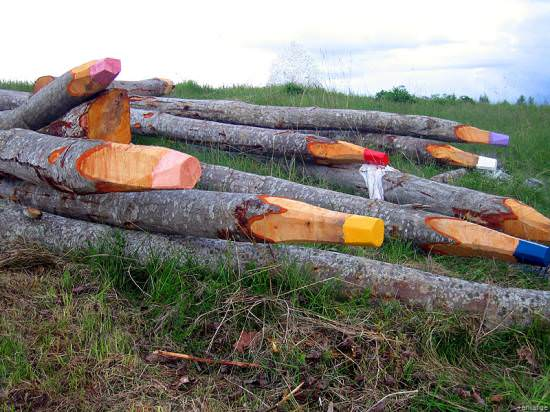 Giant Wooden Pencils Recycled Art Wood & Organic