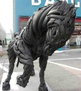 Horse Sculpture From Recycled Tires