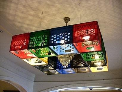 Milk crate chandelier