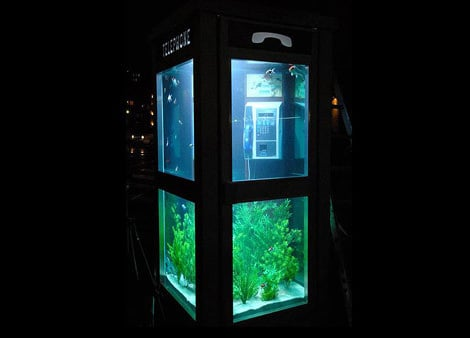 Aquarium Phone Booth Recycled Art