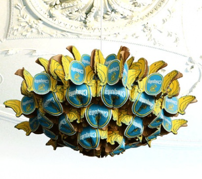 Recycled Chiquita chandelier