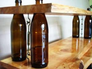 DIY Wine bottles shelves