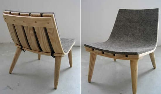 Wood & Felt Chair Recycled Furniture Wood & Organic
