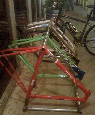 Bike frames as a bike rack