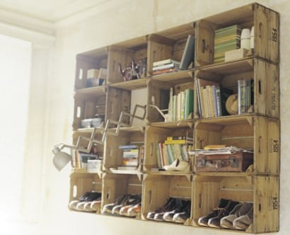 Apple crates shelves