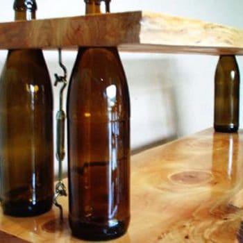 DIY Wine bottles shelves