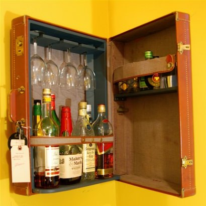 Suitcase Upcycled Into Original Bar