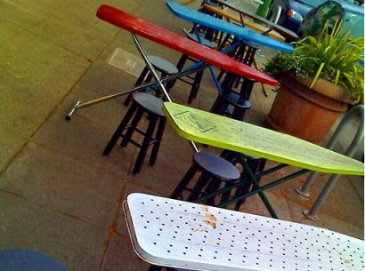 Ironing Board Reused Into Tables