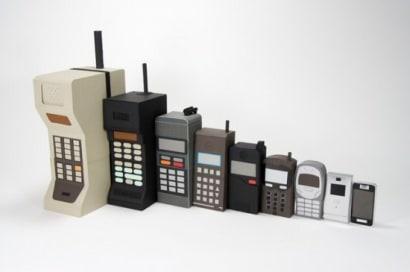 Mobile phone evolution (cardboard)