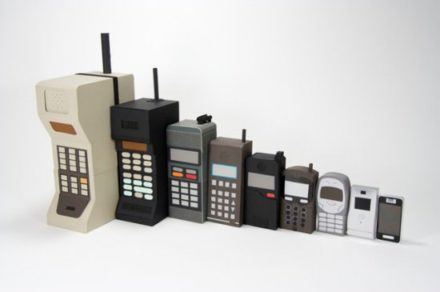 Mobile phone evolution (cardboard)