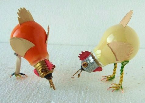 Chicken light bulbs Recycled Electronic Waste