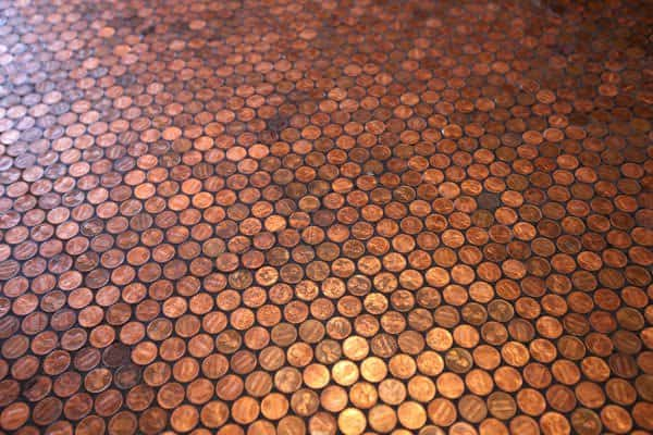 Floor of pennies in metals architecture  with pennies floor