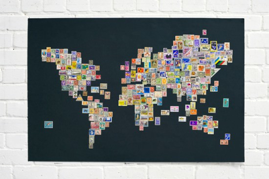 Stamps Worldmap Recycling Paper & Books