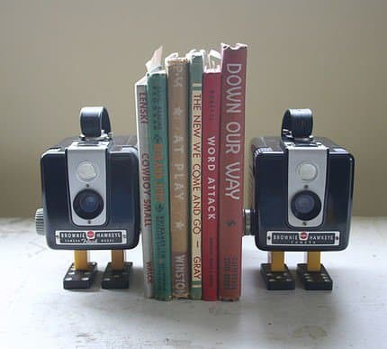 Vintage camera bookends in electronics  with Photography Books