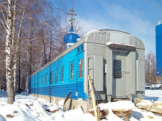 Railway car church in architecture  with train church