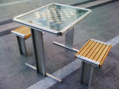 Chess Table Made of Old Phone Booth Recycled Furniture Recycling Metal