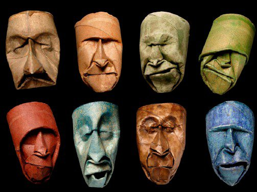 Toilet paper roll faces in art paper  with Toilet Paper Roll Recycled Art