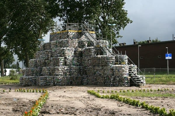 Temple of Trash ! in plastics packagings art  with Trash temple PET Bottle