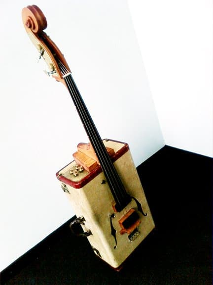 Vintage suitcase into Upright bass Recycled Art Recycled Electronic Waste