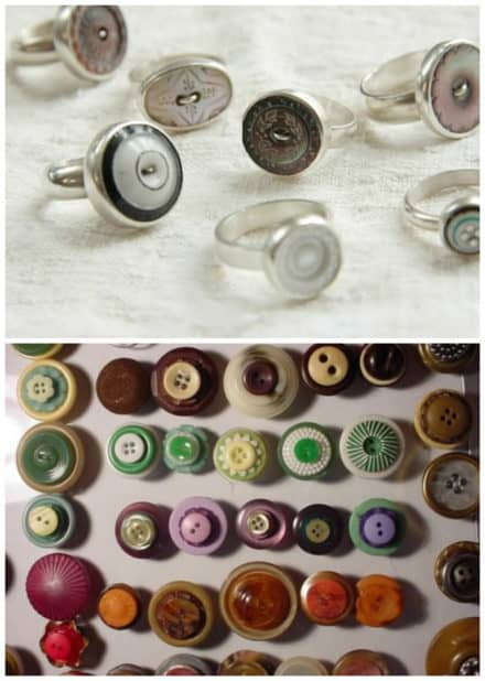 Vintage Rings & Magnets From Upcycled Buttons