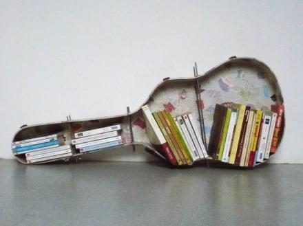 Guitar case bookshelf