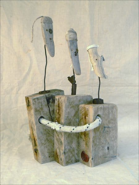 Driftwood old sailors in wood art  with Sculpture Recycled Art