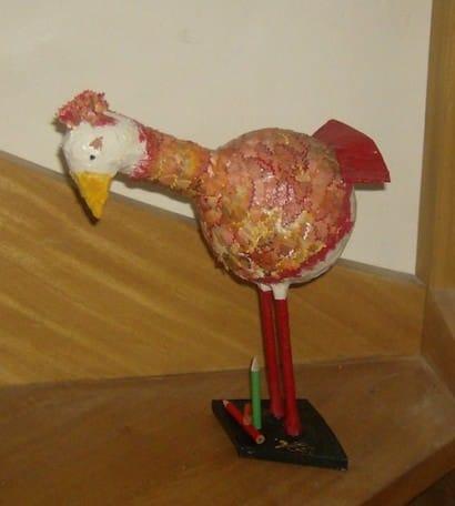 Paper-mache hen