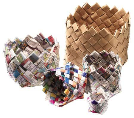 DIY: Newspaper Baskets Do-It-Yourself Ideas Recycling Paper & Books