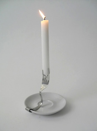 Candle holder in metals  with fork Candle