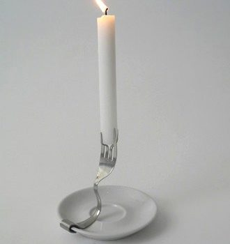 Old Fork As Candle Holder