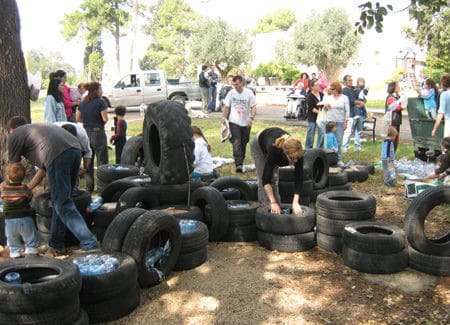 retired process Retired in tyre inner tube plastics  with Tire outdoor Bottle 