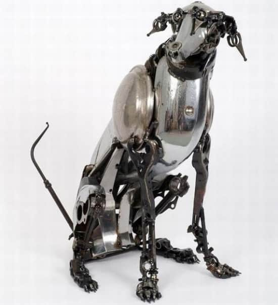 Car parts sculptures in art metals  with Sculpture Automotive Animals