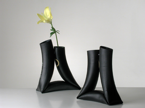 Bike Inner Tube Vases Recycled Rubber