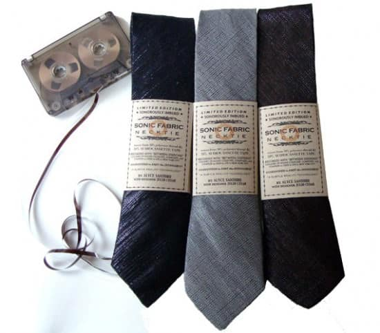 Recycled cassette tape ties in electronics accessories  with Tie Tape necktie Fabric