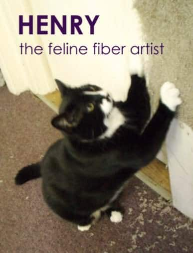 Henry the Feline Fiber Artist Recycled Art