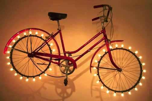 Recycled works by Marin Hood in art lights bike friends  with Wheel Jar Bike