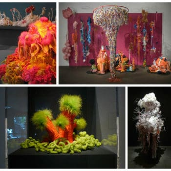 Crocheted Plastic Bag Sculptures