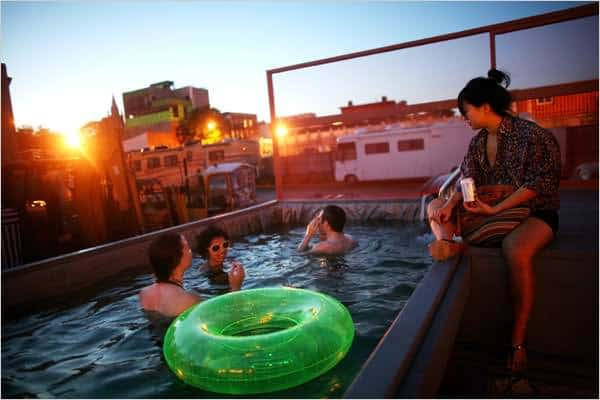 Dumpster Upcycled Into Pool Interactive, Happening & Street Art