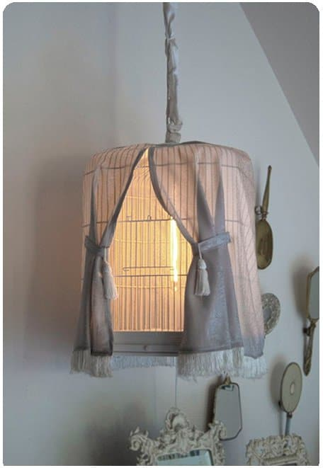 Bird Cage Upcycled Into Shabby Chic Lamp Lamps & Lights Metals