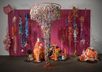 Crocheted plastic bags sculpture