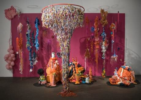 Crocheted plastic bags sculpture in art plastics  with Recycled Art Plastic