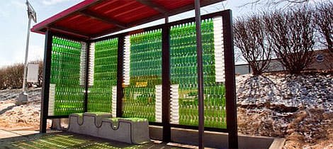 recycled bus stop recyclart Recycled Bus Stop in social glass architecture  with shelter bus Bottle