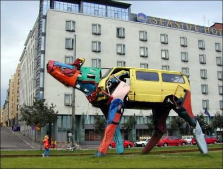Recycled car sculpture