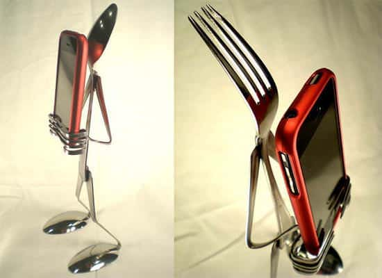 Silverware Iphone Stand Accessories Recycling Metal